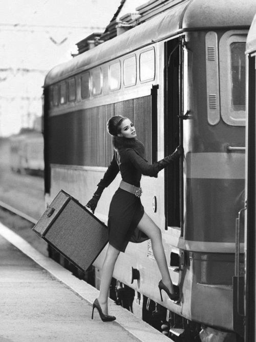 art, bag, black, black and white, black&white, brunette, bun, cute, dress, face, fashion, girl, hair, heels, hot, make up, model, nice, photography, skinny, style, sweet, train, vintage