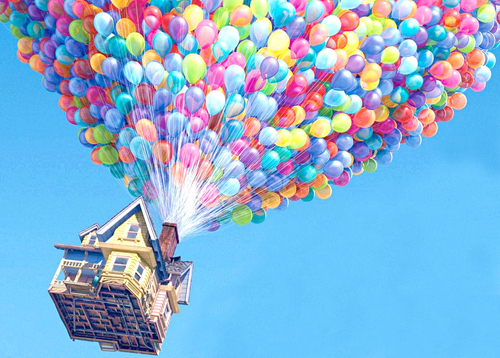 art, balloons, blue, cartoon, colorful, colors, creative, flying, green, house, inspiration, orange, pink, purple, rainbow, red, yellow