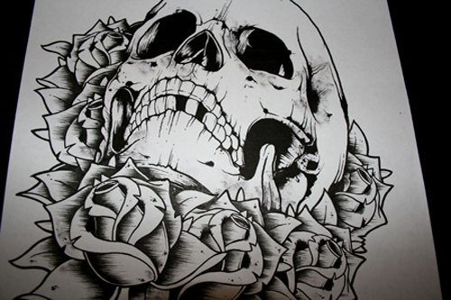 art, beatiful, black and white, draw, skull