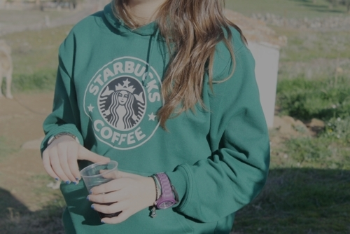 art, beautiful, cool, cute, girl, hoodie, love, nice, starbucks, wow