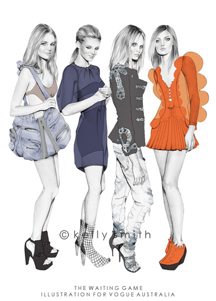 art, birdyandme, drawing, fashion, illustration, kelly smith, vogue