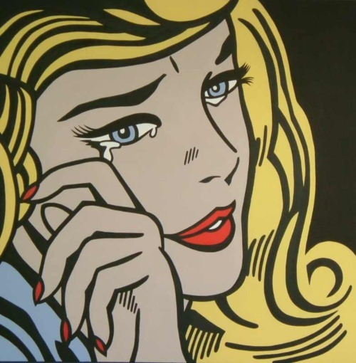art, blonde, comic, cry, girl