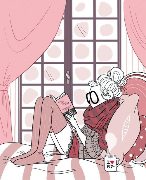 art, book, illustration, pink, reading