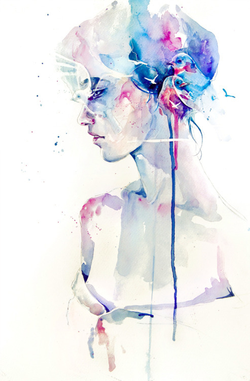 art, color, colour, drawing, face, illustration, painting, watercolor, watercolour, woman