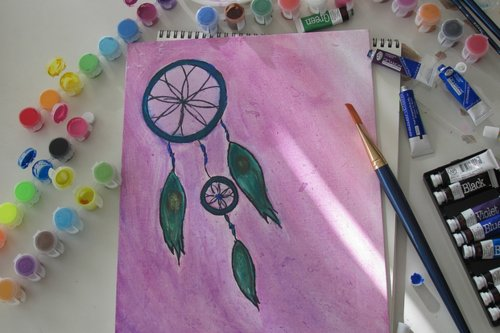 art, coloring, colors, drawing, dream catcher