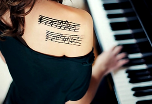art, inked girl, music, piano, tattoo