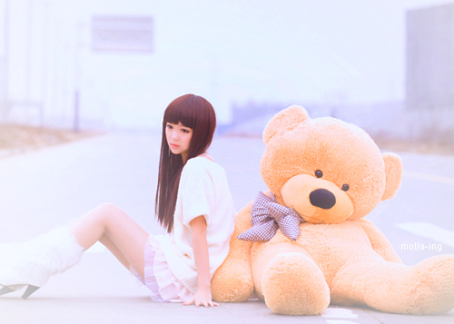 asian, bear, beautiful, boots, brown, cute, dress, fashion, girl, hair, love, lovely, orange, photography, red, sad, teddy, white, yellow