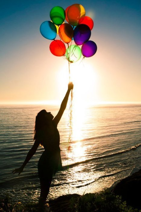 atardecer, balloon, balloons, beach, beautiful