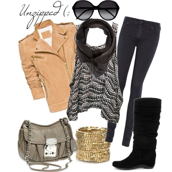 autumn, bag, bangles, boot, boots, bracelet, chiffon polka dot scarf, chilly day, clothes, clothing, cute, fall, fashion, glasses, gold bracelet, jeans, jecket, mosaic pattern tank top, outfit, polyvore outfit, scarf, shoes, suede jacket, sun glasses