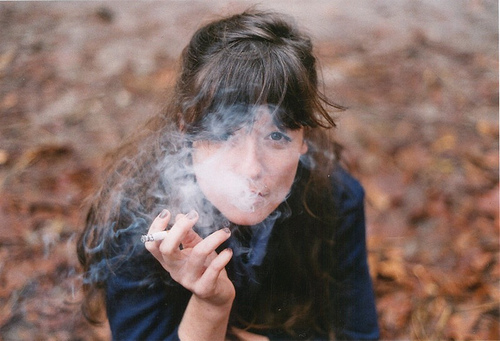 autumn, brunette, cigarette, girl, hand