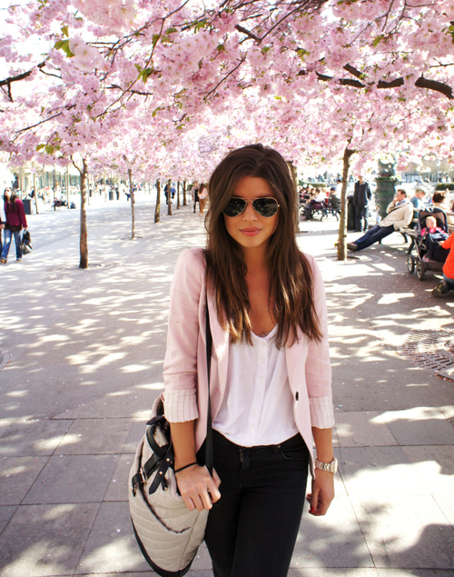 aviator, bag, blouse, blue eyes, brunette, cardigan, chic, cute, fashion, flowers, girl, glam, gorgeous, hair, long hair, outfit, pastel, pink, sexy, shirt, skinny, street, street chic, sunglasses, vogue, watch