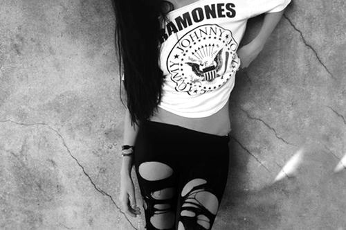 awesome, b&w, black and white, black hair, cool, fashion, girl, heels, meadow, nice, pretty, ramones, sexy, shoes