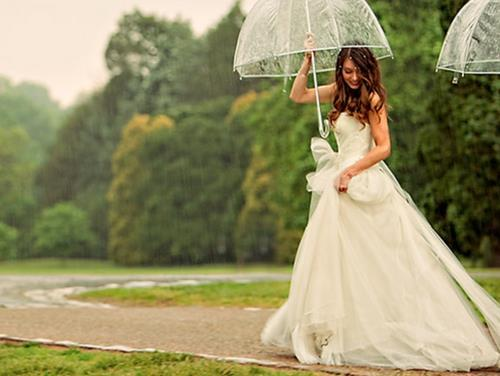 awesome, beautiful, beautiful girl, beautiful hair, cute, dress, girl, hair, rain, raining, wedding, white dress