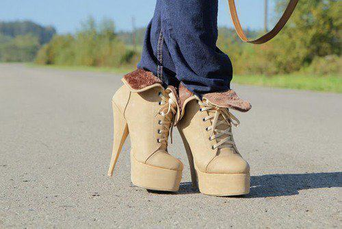 awesome, beautiful, brown, cool, fashion, heels, platform, road, trees