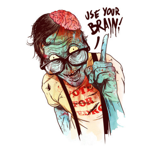 awesome, blood, brain, drawing, illustration, zombie