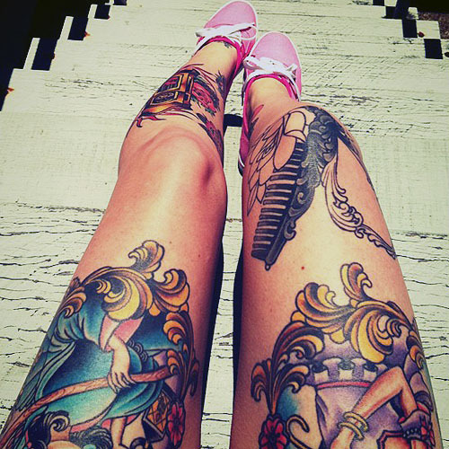 awesome, body, color, garotas, girl, legs, tattoo, tattoos, tatts, tatuagem