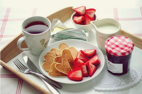 awesome, breakfast, cool, cute, food, ice tea, milk, nice, pancakes, pink, red, strawberry, tea, yummie, yummy