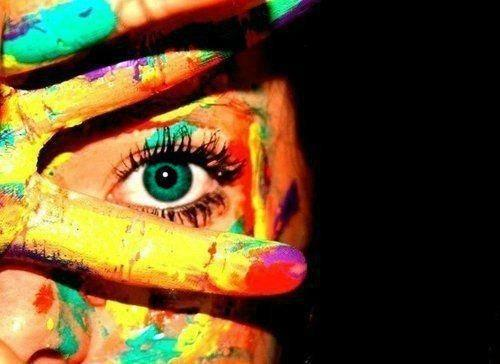 awesome, colors, cute, dirty, eye, eyes, fingers, funny, girl, green, green eyes, paint