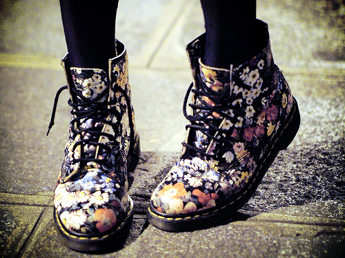 awesome, combat boots, cool, cute, desing, fashion, feet, flowers, girl, indie, pink, pretty, rain, red hair, red haire, shoes, street, style
