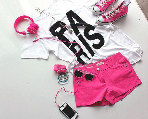 awesome, converse, cute, nice, paris, phone, pink, pretty, shorts