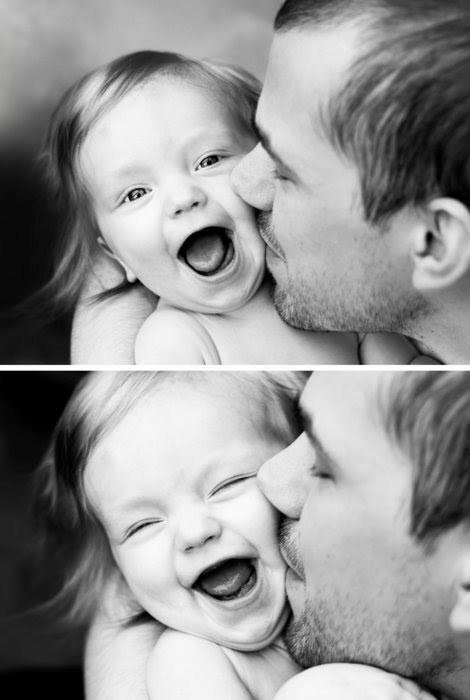 baby, black and white, cute, dad, family, father, happy, kid, kiss, laugh