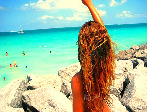 back, beach, beach hair, beautiful, bikini, blonde, blue, curl, curly hair, cute, fashion, friends, girl, hair, long, long hair, ocean, pretty, rock, sky, summer, sun, sunlight, tan, tanned, water