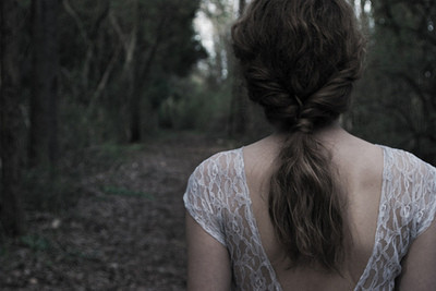 back, beautiful, dark, forest, hair, lace, magical, whimsical