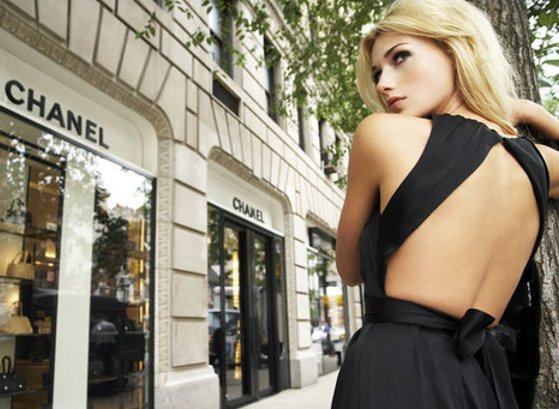 backless, blonde, chanel, dress, fashion