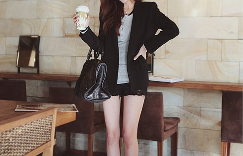 bag, beautiful, black, clothes, dark, drink, outfit, photography, pretty, shorts, style