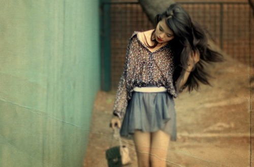 bag, beautiful, brunette, fashion, girl, hair, lovely, outfit, photo, photograph, photography, pretty, shirt, skirt, style, walking