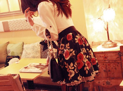 bag, beautiful, clothes, fashion, floral, hair, outfit, photography, pretty, skirt, style, white