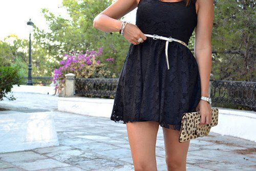 bag, beauty, belt, black dress, clothes