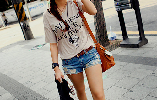 bag, belt, brunette, casual, clock, cute, denim shorts, fashion, legs, outfit, pretty, rolex, shirt, style, summer