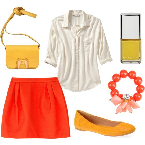 bag, bracelet, clothes, clutch, cute, fashion, fashionable, flats, high waisted, mini, nail, orange, outfit, polish, polyvore, shirt, shoes, skirt, summer, top, yellow
