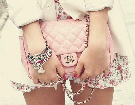 bag, bracelets, chanel, clothes, pink