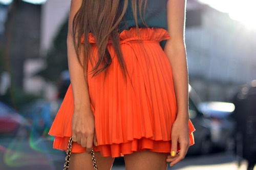 bag, bright, brunette, cute, fashion, girl, long hair, orange, photography, skirt, spring, street style, summer, thin