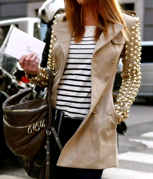bag, camel, coat, cute, fashion, gold, jeans, love at first sight, outfit, photography, street style, stripes, studs, sweet