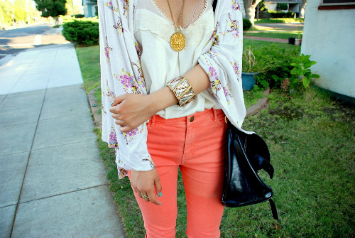 bag, clothes, fashion, girl, girls, gold, golden, jewelry, jumper, necklace, orange, photography, pink, sweater, vest, woman