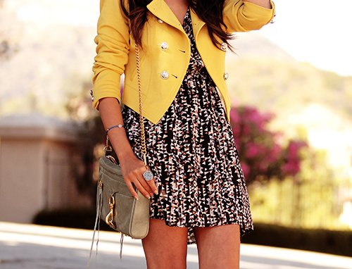 bag, dress, fashion, girl, yellow