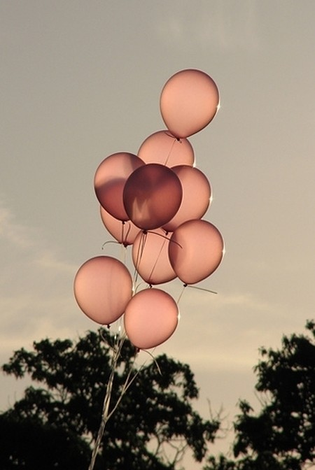balloons, black and white, contrast, lovely, pink