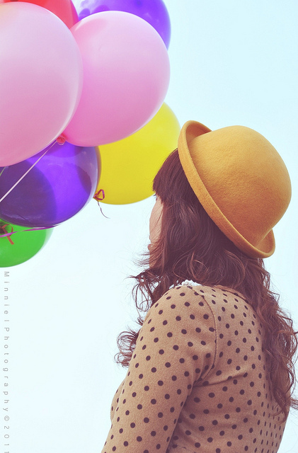 balloons, colorful, girl, vintage