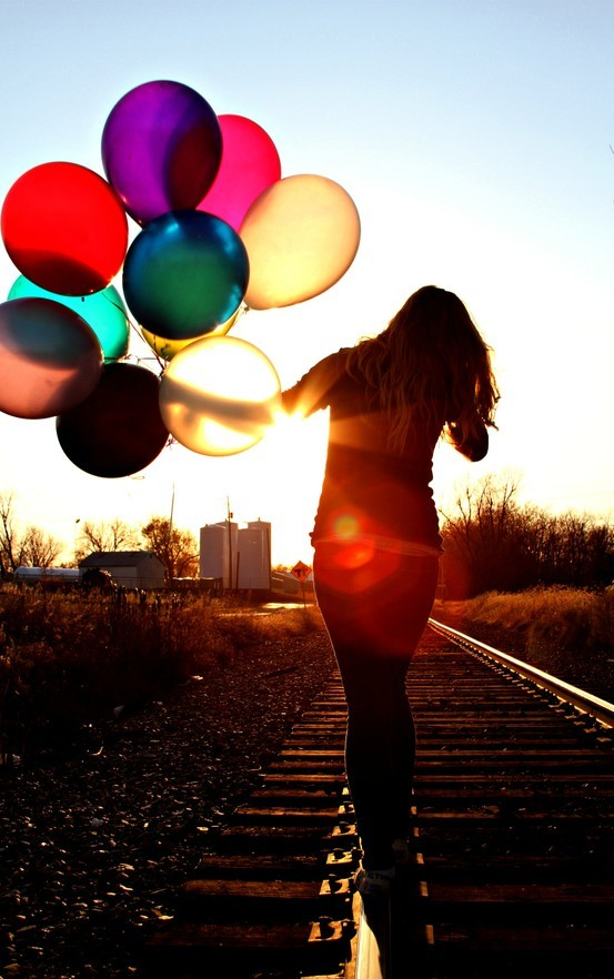 Balloons girl photography pictures railroads image 454075 on favim com