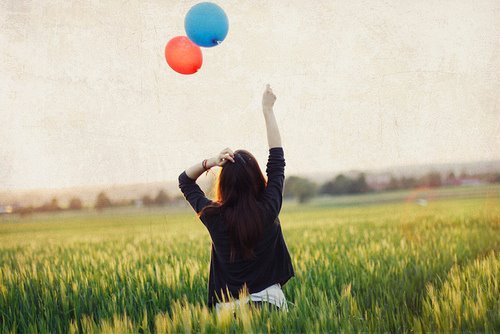 balloons, girl, photography, sky