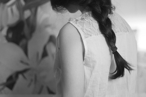b&w, back, black and white, dress, girl, hair, photo, photograph, vintage