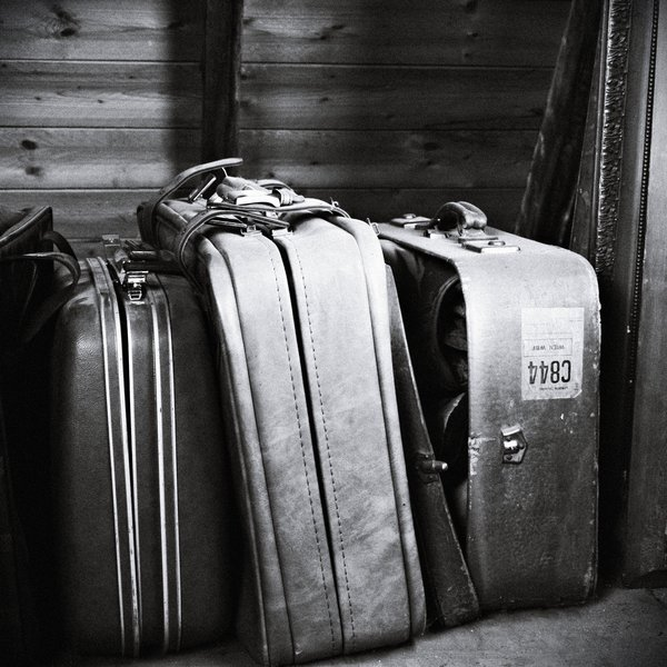 b&w, beautiful, black and white, contrast, monochrome, photo, photography, still, suitcases, travel