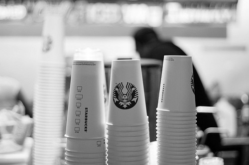 b&w, black & white, black and white, coffee, cute, starbucks, white