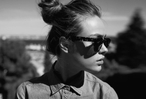 b&w, black and white, bun, fashion, girl