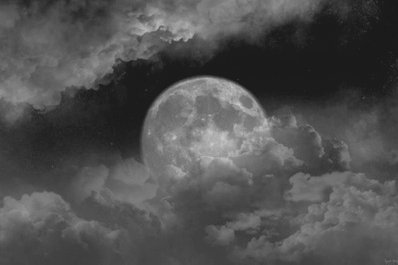 b&w, black and white, cloud, clouds, dark, darkness, moon, night