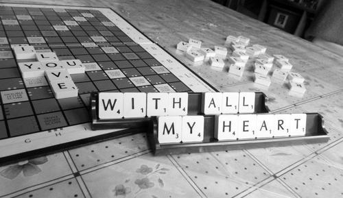 b&w, black and white, cute, photography, quote, scrabble, text
