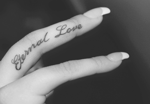 b&w, black and white, eternal, eternity, finger, finger tattoo, fingers, hands, love, love tattoo, nail, nails, tattoo, tattooed, tattoos